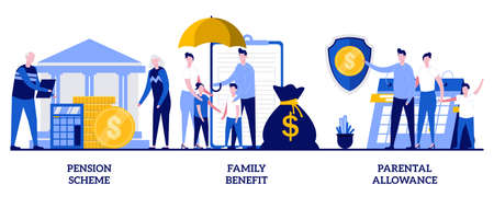 Family benefit, pension scheme, parental allowance concept with tiny people. Social security payments abstract vector illustration set. Money support for raising children, insurance metaphor.