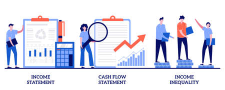 Income and cash flow statement, income inequality concept with tiny people. Balance sheet abstract vector illustration set. Financial plan and report, company debt, accountancy service metaphor.