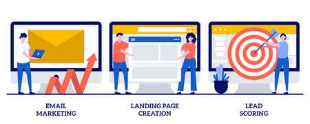 Email marketing, landing page creation, lead scoring concept with tiny people. Newsletter digital promotion abstract vector illustration set. Web design and targeted advertisement metaphor.