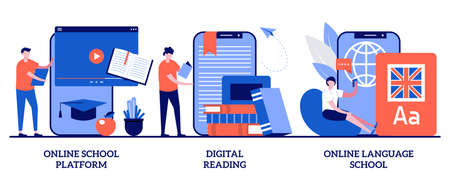 Online school platform, digital reading, language school concept with tiny people. Online education vector illustration set. Homeschooling, education platform, recorded video classes metaphor.