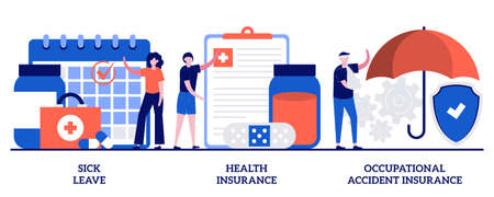 Sick leave, health insurance, occupational accident insurance concept with tiny people. Financing employees diseases treatment vector illustration set. Workplace guarantees and perks metaphor.