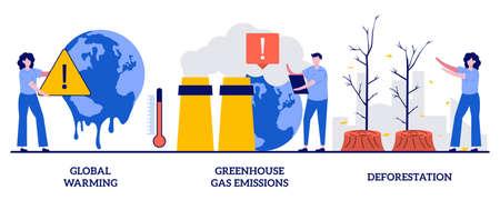 Global warming, greenhouse gas emissions, deforestation concept with tiny people. Climate change abstract vector illustration set. Global heating, air pollution, smog, wildlife degradation metaphor. Vektorgrafik
