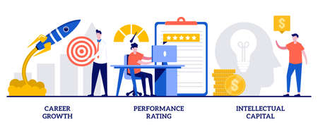 Career growth, performance rating, intellectual capital concept with tiny people. Employee efficiency vector illustration set. Company challenge and success, job position scoring system metaphor.