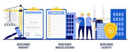 Building permit, regulations and safety concept with tiny people. Construction business vector illustration set. Contractor service, construction site, engineering project, application form metaphor. Vecteurs