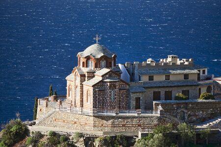 monasteri: Chiesa greco-ortodossa sul Monte Athos vicino scenetta St Anna, Agion Oros, Grecia Archivio Fotografico