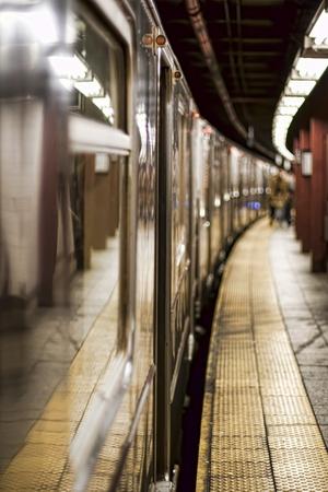 subway platform: Train on a Subway Station in Manhattan, New York