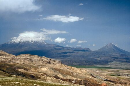 tableland: Snow peak of Mount Ararat in the clouds, Eastern Turkey