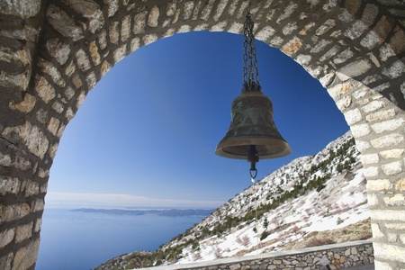 mnich: Bell at Church of Intercession on Mount Athos, Holy Mountain,  Greece