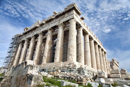 parthenon: Antique Parthenon on renovation on Acropolis in Athens, Greece