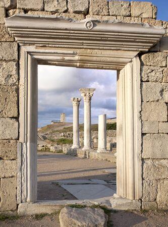 Ruins of Basilica of Ancient Greek colony Khersones in Crimea, Ukraine photo