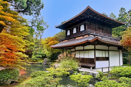silver maple: Silver Pavilion Ginkakuji in Japanese Zen garden in Kyoto in fall surrounded by trees with red, yellow and orange foliage
