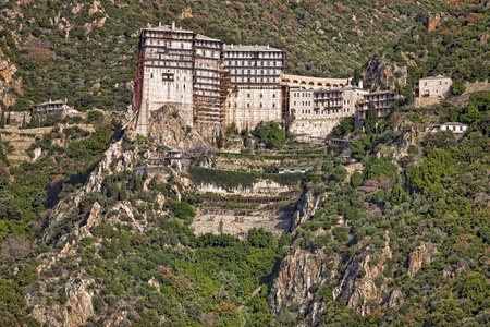 of petra: Simonopetra scenic medieval Orthodox monastery at Mount Athos, Agion Oros (Holy Mountain), Chalkidiki, Greece