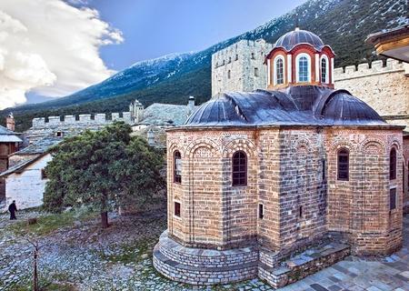 Ancient church in Megisti Lavra (Great Lavra) Orthodox monastery at Mount Athos, Agion Oros (Holy Mountain), Chalkidiki, Greece Editorial