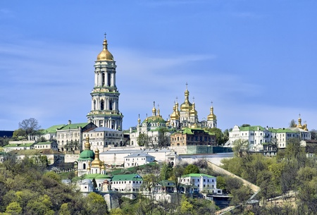 historical landmark: Panoramic view of Kiev Pechersk Lavra Orthodox Monastery from Dnieper river in Kiev, Ukraine Stock Photo