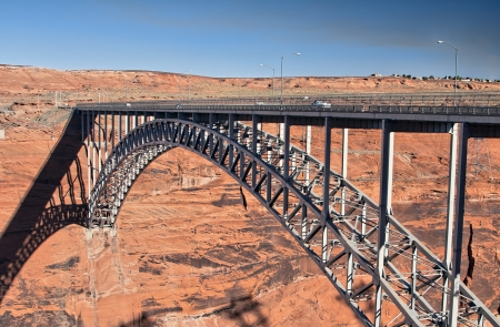 Arched steel bridge across the canyon of Colorado river in Page, Arizona photo