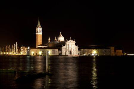 Night view on San Giorgio Maggiore in Venice, Italy Editorial