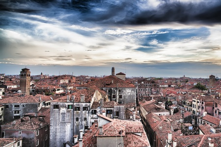 panoramic roof: Roofs of Venice before the thunderstorm
