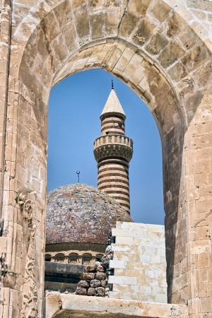 Details of ancient Ottoman Sultan Palace Ishak Pasha in Turkey Editorial