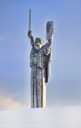 Monument of Victory of Soviet Union in WW II in snow in Kiev, Ukraine Editorial