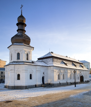 russian tradition: Refectory church of Saint Michael Gilded Orthodox cathedral of XVIII-th century in snow, Kiev, Ukraine