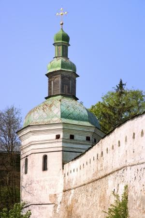 Tower and wall of ancient Kiev-Pechersk Lavra monastery, Ukraine