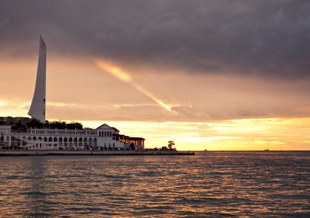 Burning rose sky sunset at Sevastopol bay in Crimea, Ukraine