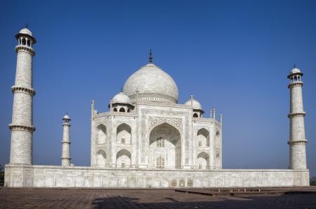 love dome: Taj Mahal mausoleum at clear blue sky, Agra, India