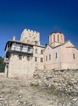 Old Orthodox church on the sea coast at Mount Athos, Agion Oros  Holy Mountain , Chalkidiki, Greece