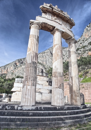 Ruins of Rotunda of temple of Athena on slopes of Mount Parnassus in Delphi, Greece