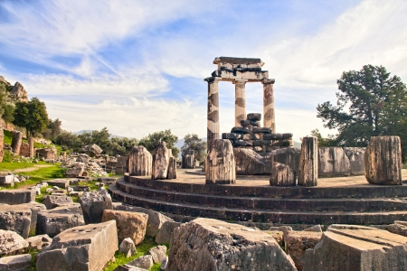 delphi: Remains of Ancient Greek temple of Athena in Delphi Stock Photo