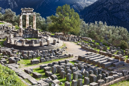 Ruins of Ancient Greek temple of Athena on Mount Parnassus in Delphi, Greece