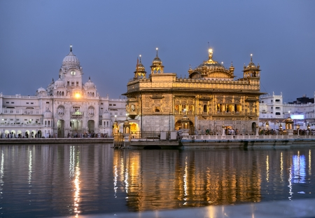 Sikh Golden temple Harmandir Sahib in Amritsar at sunrise, Punjab, India