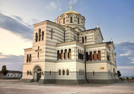 Saint Vladimir Orthodox cathedral at Chersonesus Taurica in Sevastopol at dusk, Crimea, Ukraine