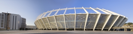 recently: KIEV - MAY 2  Olympic Stadium on May 2, 2012 in Kiev, Ukraine  Panoramic view of the Olympic National Sports Complex recently opened after reconstruction for  UEFA EURO 2012 football cup