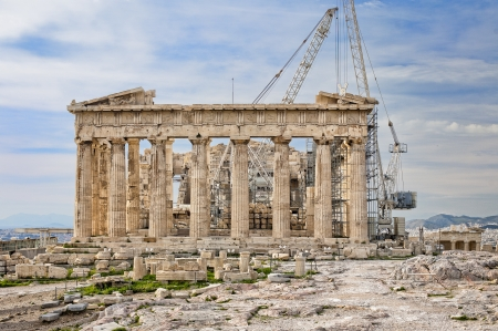 Construction works at Ancient Greek Parthenon on  Acropolis in Athens Standard-Bild