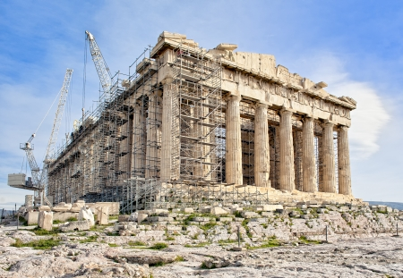 Building of Ancient Greek Parthenon on Acropolis in Athens on reconstruction