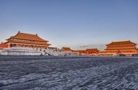 Hall of Supreme Harmony in Forbidden City at sunset in Beijing, China.
