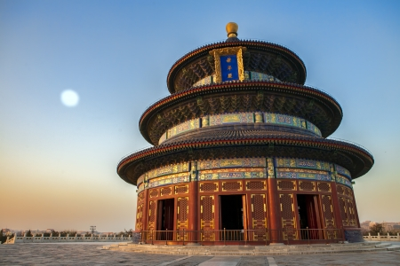 temple of heaven: Temple of Heaven in Beijing at sunset at full moon, China