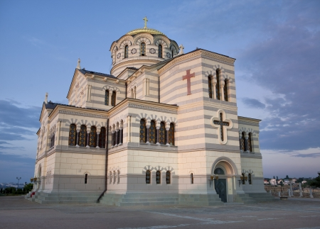 Vladimir Russian christian orthodox cathedral in Chersonesus at dusk in Sevastopol, Crimea, Ukraine Standard-Bild