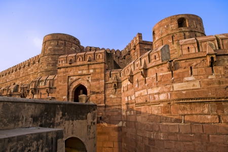 Agra Fort entrance at sunset, India