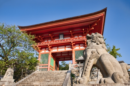 Entrance gate to the ancient Kiyomizu-dera Buddhist temple in Kyoto, Japan Editorial