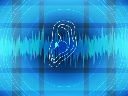 Onde sonore entendue à l'oreille sur fond bleu Illustration vectorielle. Banque d'images - 99969056