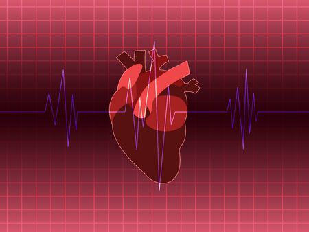 A heart rate run through heart organ on background Vector illustration.