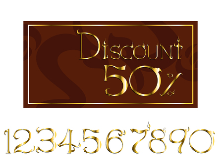 discount tag in fantasy style created illustration. can change number easy to use Ilustração