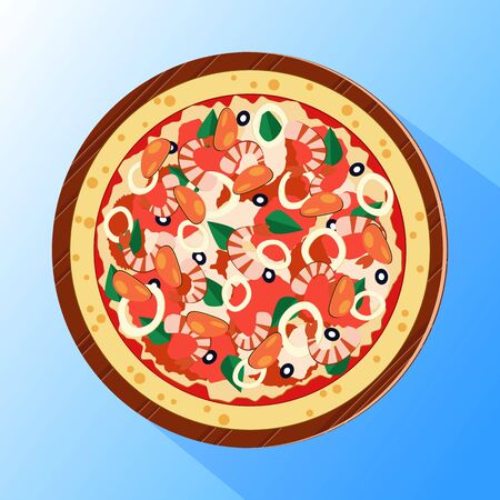 Vector illustration of pizza topped by squids, shrimps and mussels