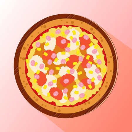 Vector illustration of pizza topped by pineapple, cheese and ham