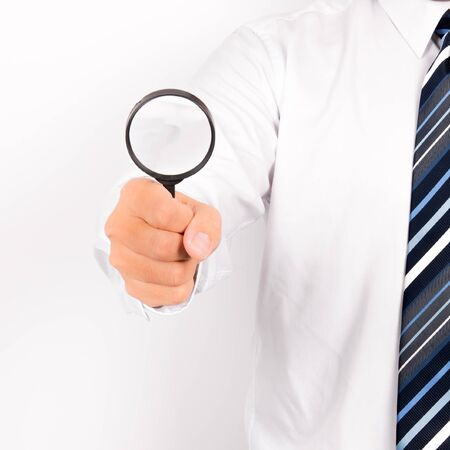 bussinessman: bussinessman show magnifying glass, Idea concept Stock Photo