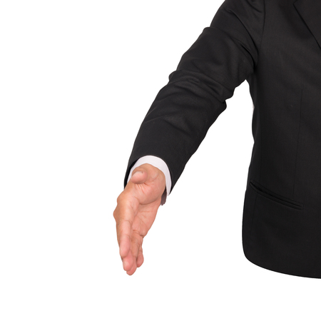 reaching out: Businessman hand reaching out offering handshake  white background