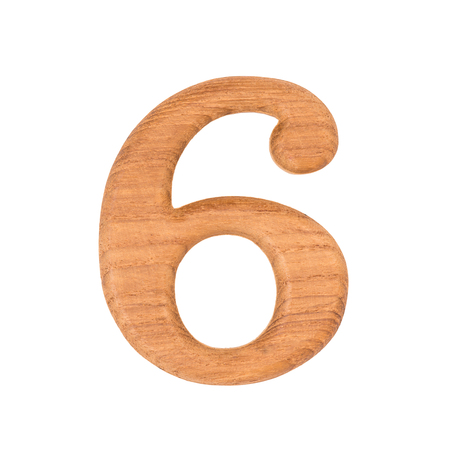 six: wooden numbers 6 isolate on white background Stock Photo