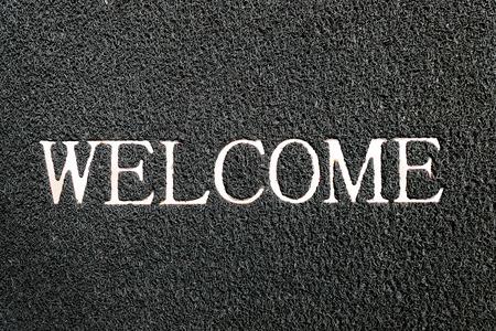 doormat: welcome doormat black color Stock Photo
